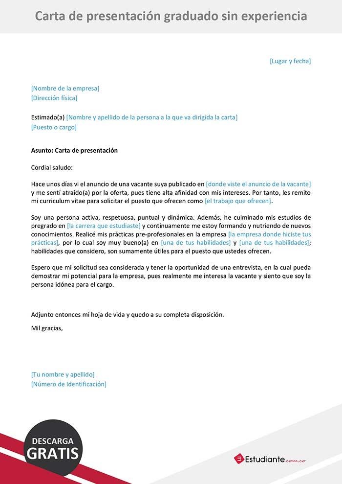 carta de presentación graduado sin experiencia